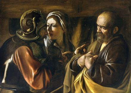 Caravaggio, Michelangelo Merisi da: The Denial of Saint Peter. Fine Art Print.  (002072)